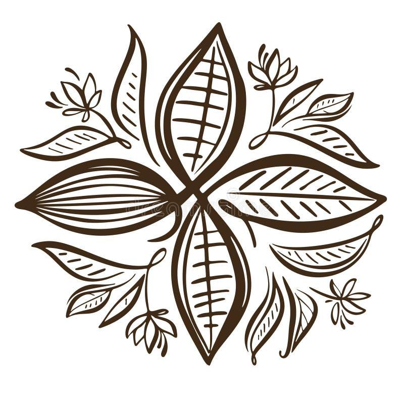 Illustration de graines de cacao Graines de cacao de chocolat illustration libre de droits