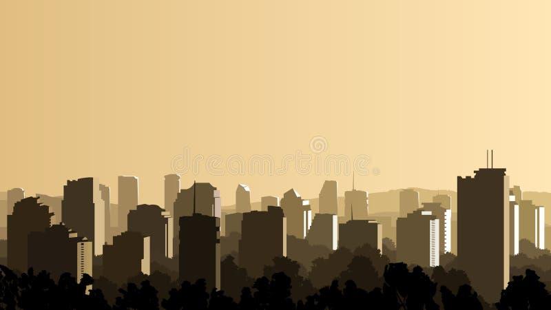 Illustration de grande ville au coucher du soleil. illustration libre de droits