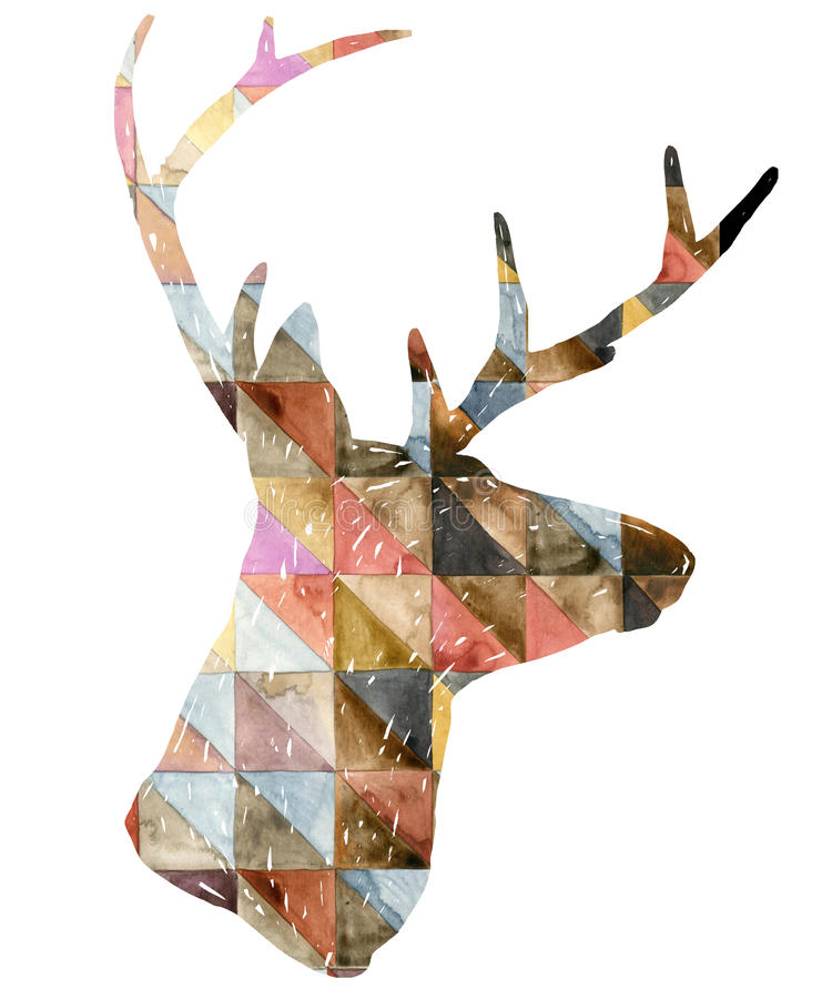 Illustration de graphique de cerfs communs d'aquarelle illustration de vecteur