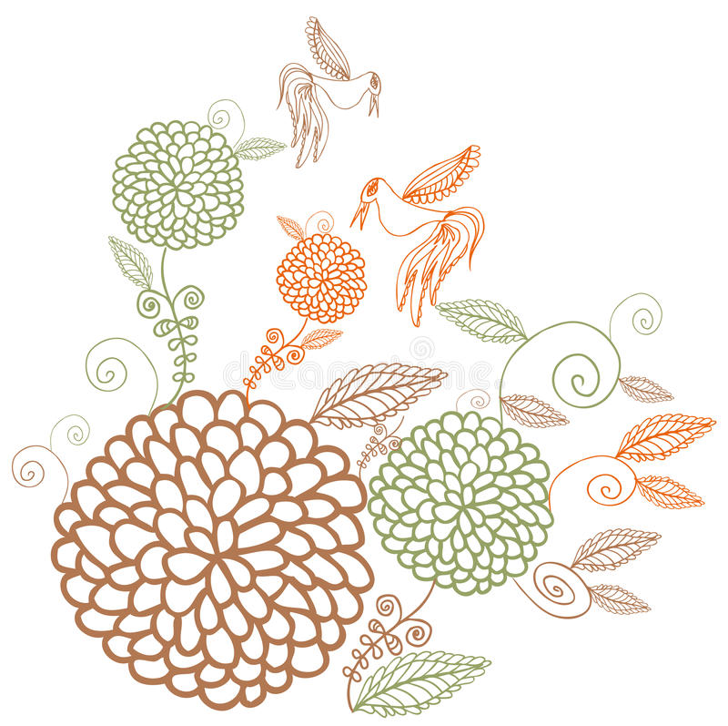 Fleurs colorées de cru sur le fond blanc illustration de vecteur