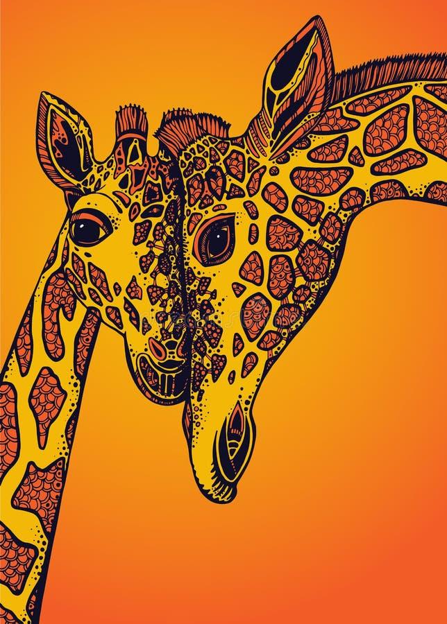 Illustration de graphique de vecteur avec deux girafes dans l'amour illustration stock