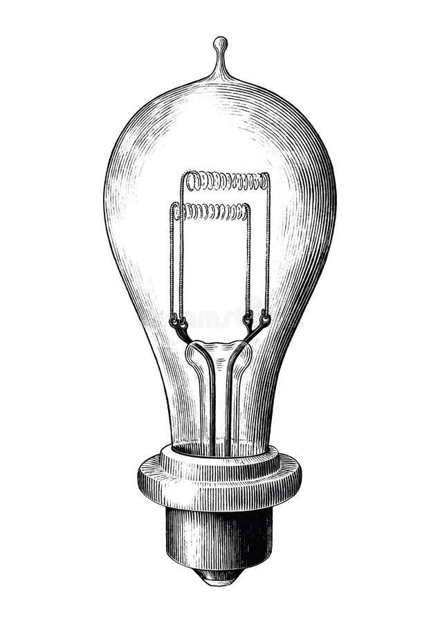 Illustration de gravure antique de clipart (images graphiques) noir et blanc de lampe d'ampoule d'isolement sur le fond blanc illustration stock