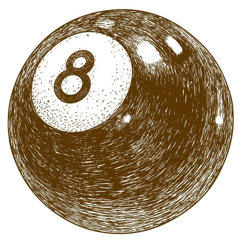 Illustration de gravure de boule de billards illustration libre de droits