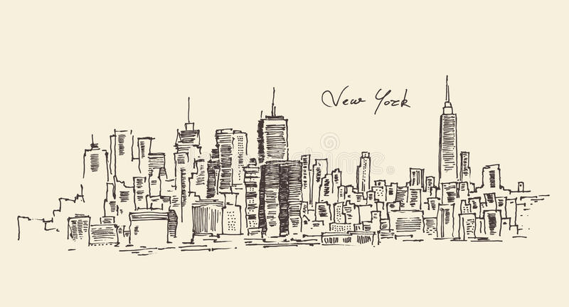 Illustration de gravure de New York City illustration libre de droits