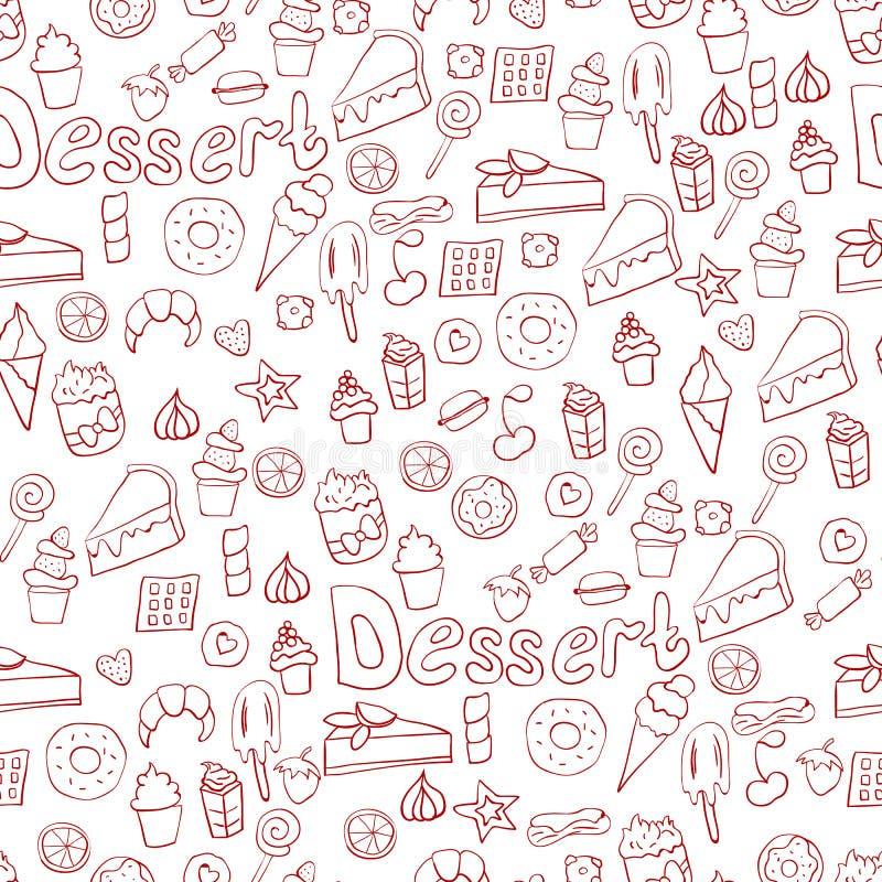 Illustration de griffonnage des desserts et des pâtisseries Illustration tirée par la main de vecteur faite dans le style de band illustration stock
