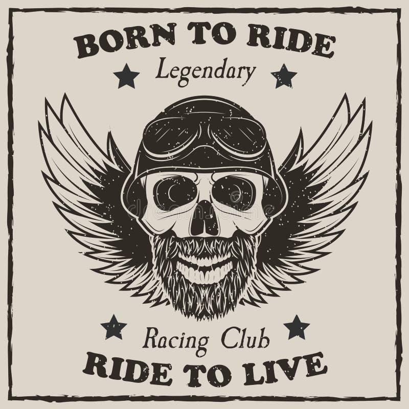 Illustration de grunge de vecteur de T-shirt de moto de vintage illustration stock