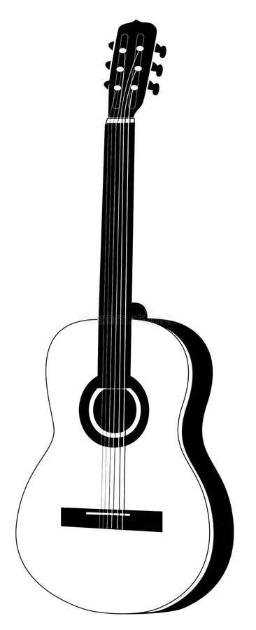 Illustration de guitare acoustique noire et blanche images stock