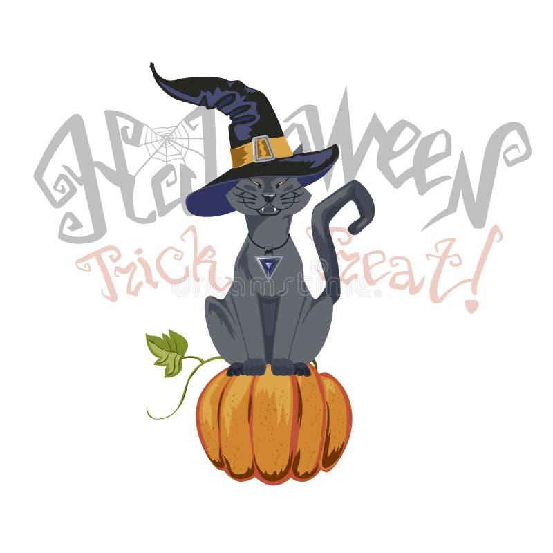 Illustration de Halloween avec le chat noir sur le fond de lune illustration de vecteur