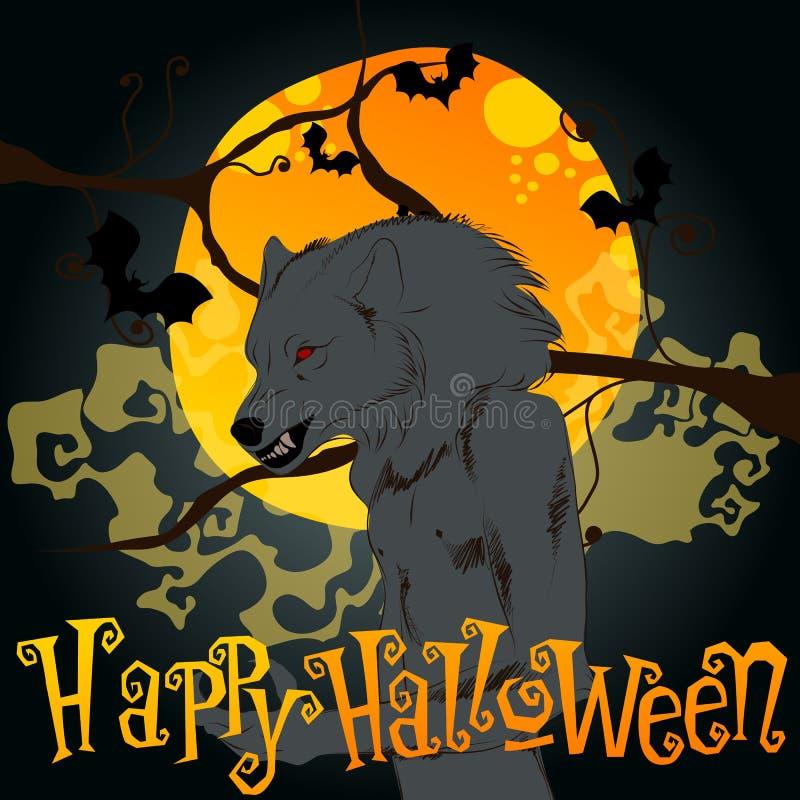 Illustration de Halloween avec le loup-garou et la pleine lune illustration stock