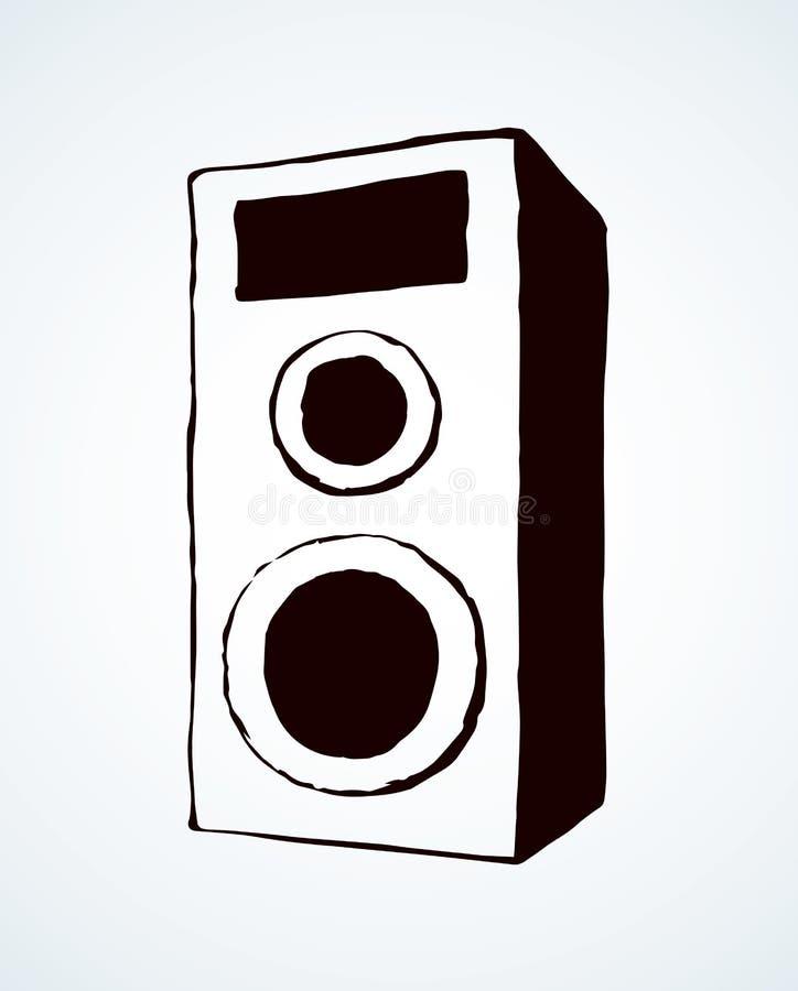 Illustration de haut-parleur de griffonnage sur le fond blanc illustration de vecteur