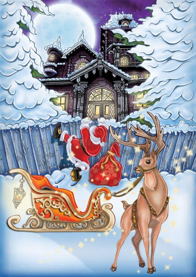 Illustration de haute qualité de nuit de Noël pour Noël et de nouvelles cartes postales de YER, couverture, fond, papier peint illustration stock
