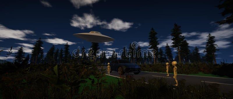 Illustration de haute résolution extrêmement détaillée 3d et réaliste de Grey Aliens arrêtant une voiture la nuit illustration de vecteur