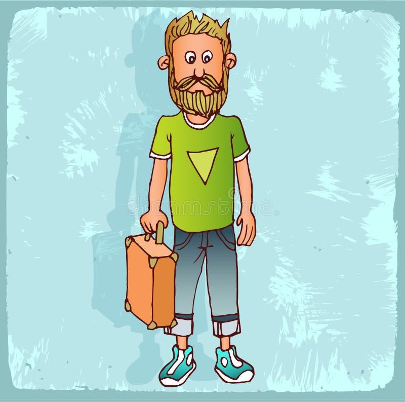 Illustration de hippie de bande dessinée, icône de vecteur illustration libre de droits