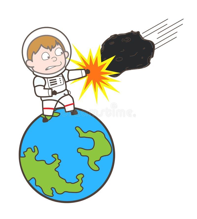 Illustration de Hitting Asteroid Vector de cosmonaute de bande dessinée illustration libre de droits