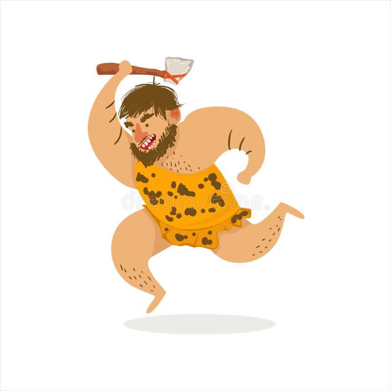 Illustration de Hunter With Axe Running Cartoon du premier troglodyte de homo sapiens chez la peau animale vivant dans l'âge de p illustration libre de droits