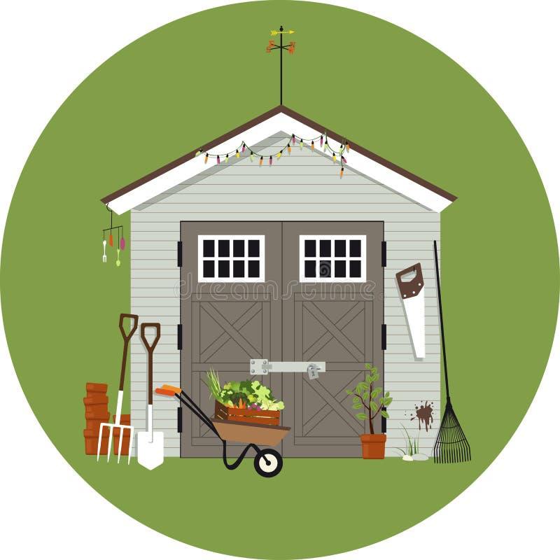 Illustration de jardinage de cabane illustration de vecteur