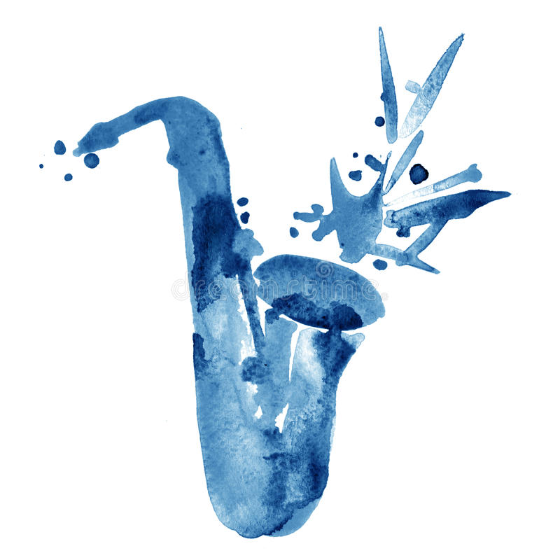 Illustration de jazz d'aquarelle de saxophone classique bleu d'alt illustration libre de droits