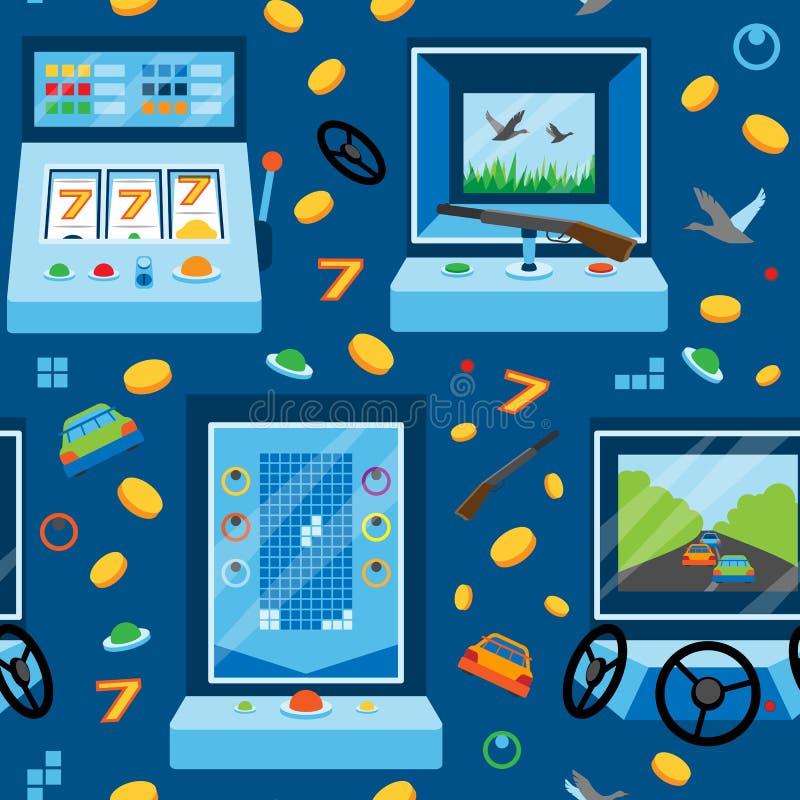 Illustration de jeu de vecteur de modèle de bande dessinée de machine de jeu de fente de casino de fond de divertissement sans co illustration stock