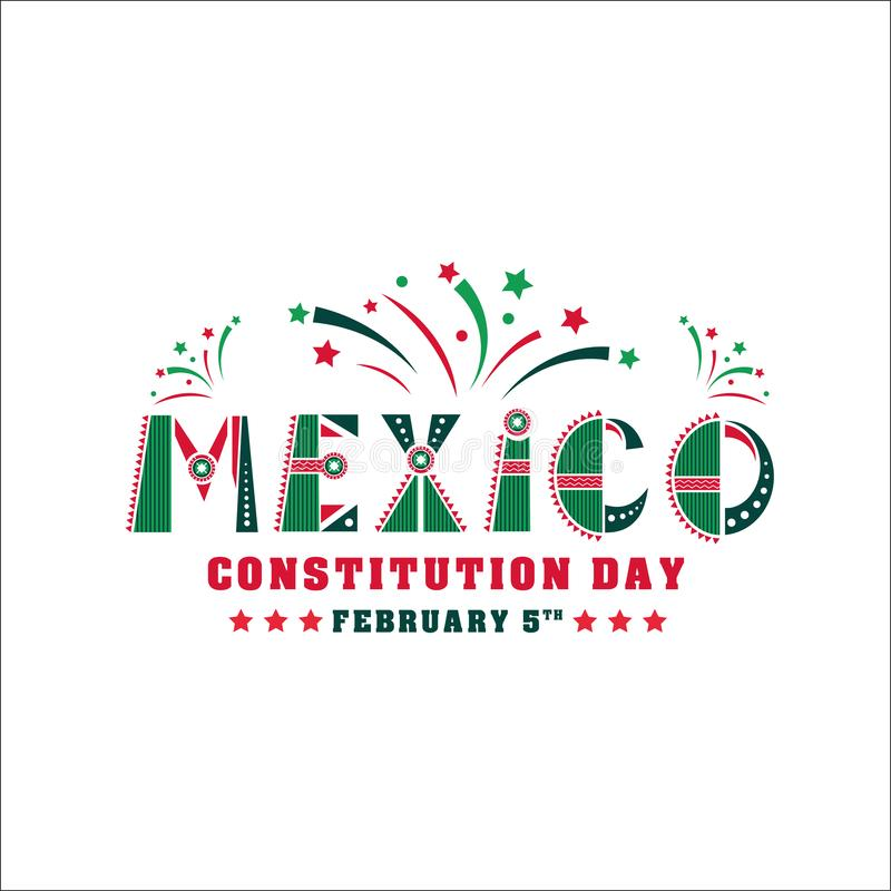 Illustration de jour de constitution du Mexique Vecteur carte de célébration du 5 février illustration stock