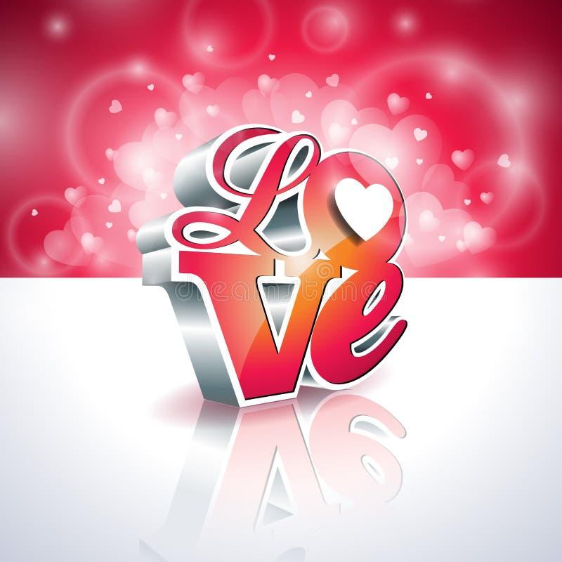 Illustration de jour de valentines de vecteur avec la conception de typographie de l'amour 3d sur le fond brillant illustration libre de droits