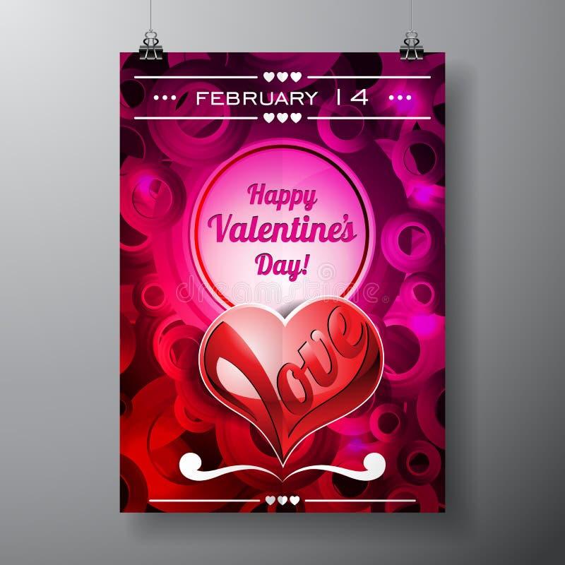 Illustration de jour de valentines de vecteur avec la conception de typographie sur le fond violet illustration de vecteur