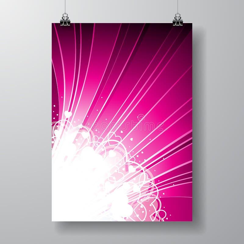 Illustration de jour de valentines de vecteur sur le fond violet illustration de vecteur