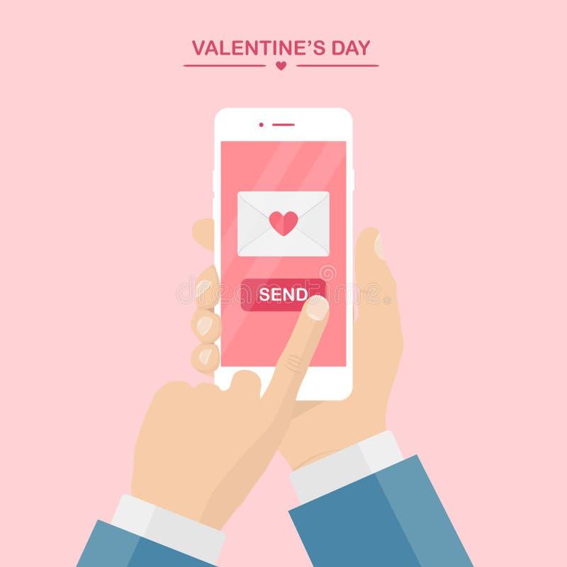 Illustration de jour du `s de Valentine Envoyez ou recevez les sms d'amour, la lettre, email avec le téléphone portable Téléphone illustration de vecteur