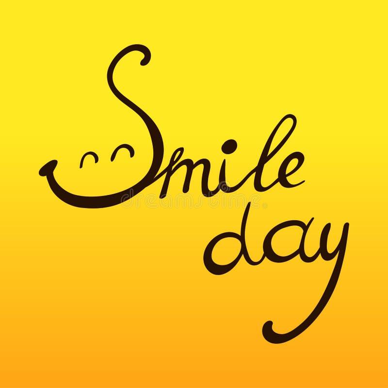 Illustration de jour de sourire du monde avec la citation écrite par main - jour de sourire illustration stock
