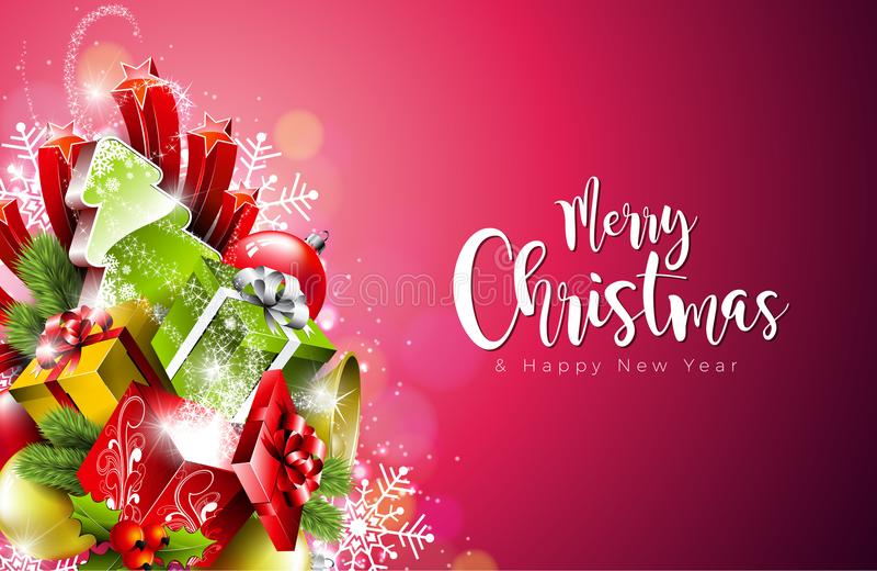 Illustration de Joyeux Noël et de bonne année dessus avec la typographie sur le fond de flocons de neige Conception du vecteur EN illustration stock