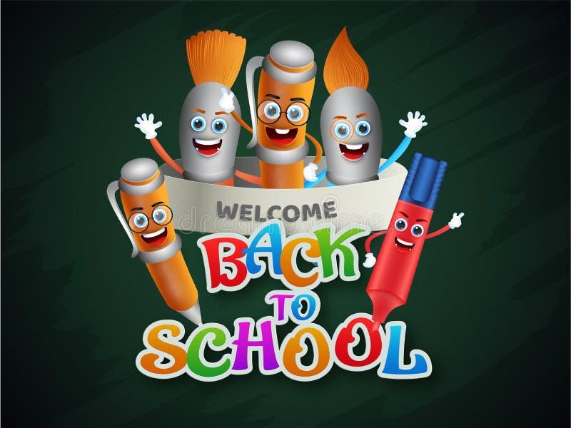 Illustration de Kiddish d'élément d'éducation pour de nouveau à la conception d'affiche ou de bannière de concept d'école illustration stock