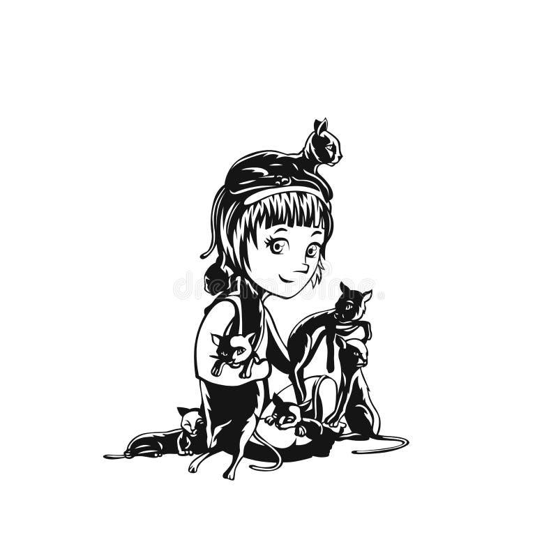 Illustration de l'adolescence de vecteur de fille et de chats illustration stock