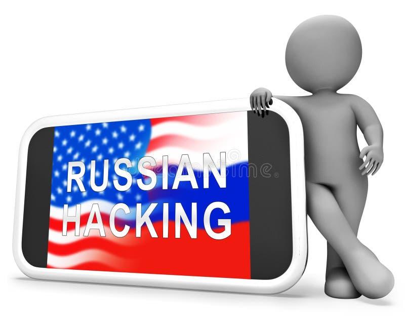 Illustration de l'alerte 3d d'espionnage de Web de pirate informatique de téléphone illustration libre de droits