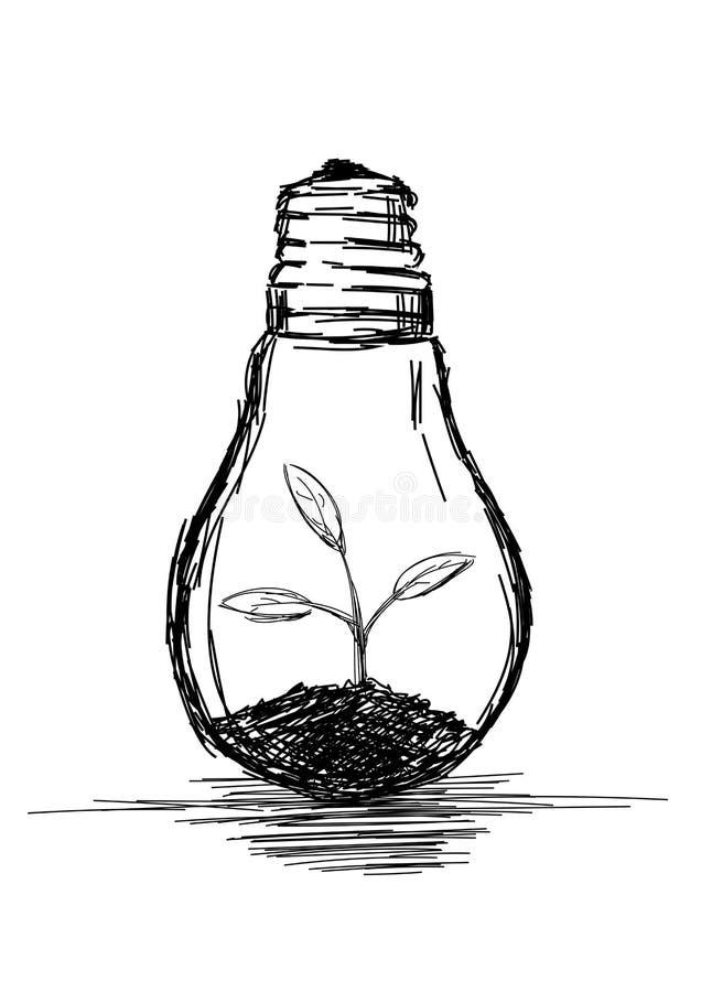 Illustration de l'ampoule légère avec végétation illustration de vecteur