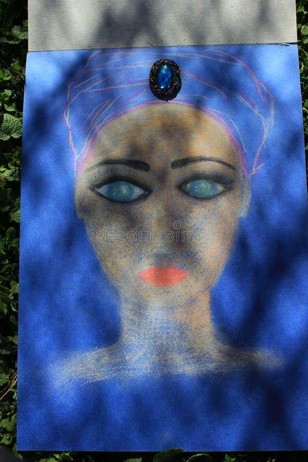 Illustration de l'applique du visage d'une fille des fleurs et des pétales illustration stock