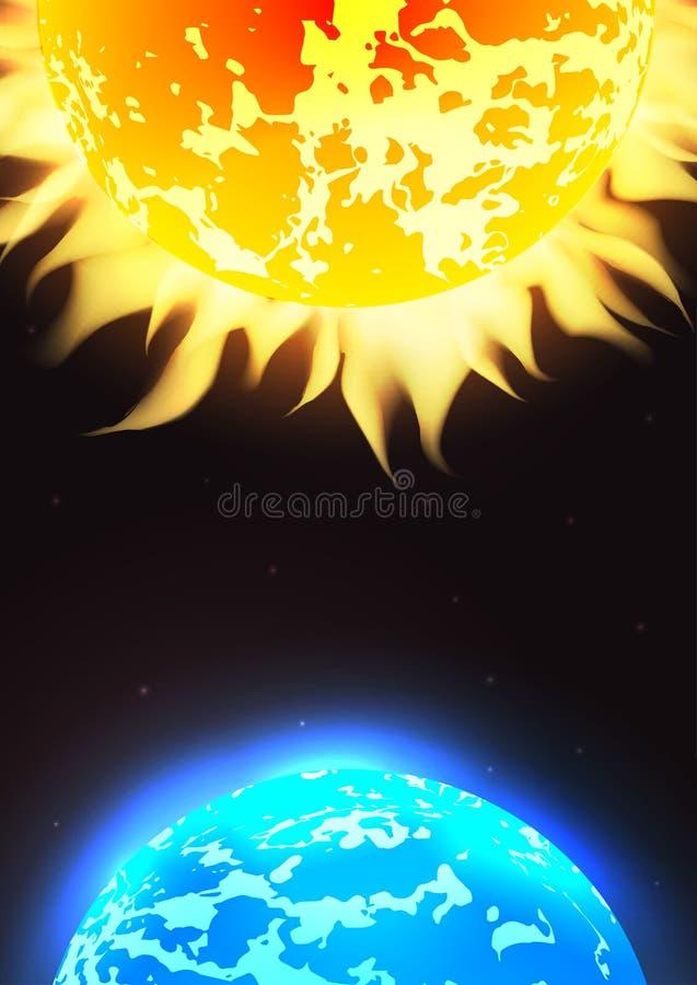 Illustration de l'espace de vecteur avec les étoiles, la terre de planète et le Sun illustration stock