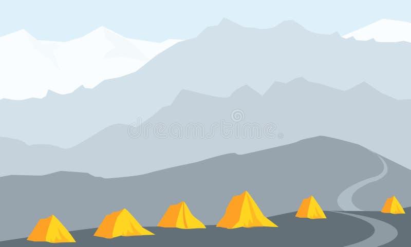 Illustration de l'Himalaya de vecteur de camp de base illustration stock