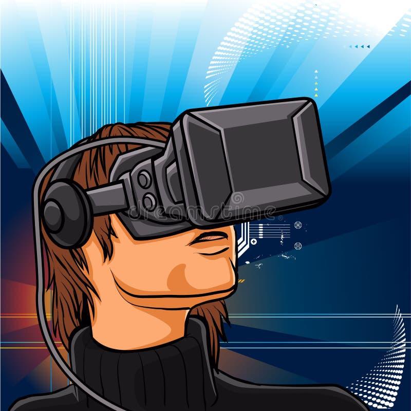 Illustration de l'homme avec des verres de casque illustration de vecteur