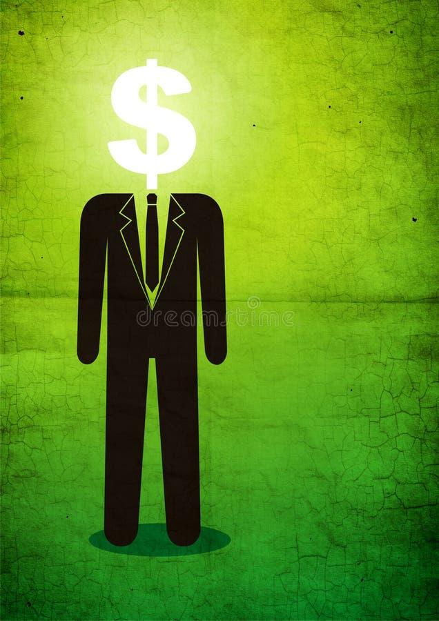 Illustration De L Homme Avec Un Signe Du Dollar Images libres de droits