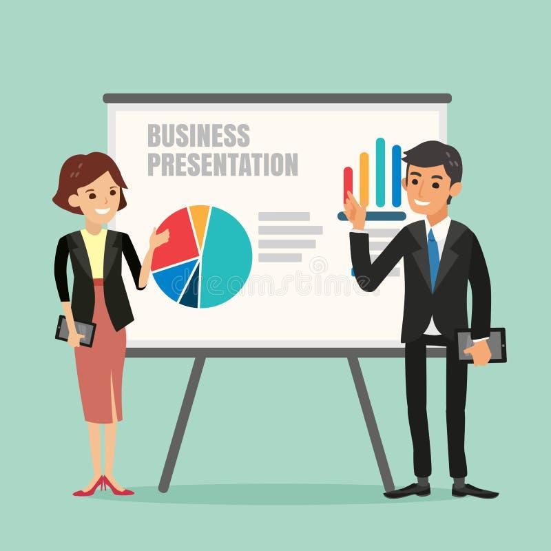 Illustration de l'homme d'affaires et de la femme faisant une présentation illustration de vecteur