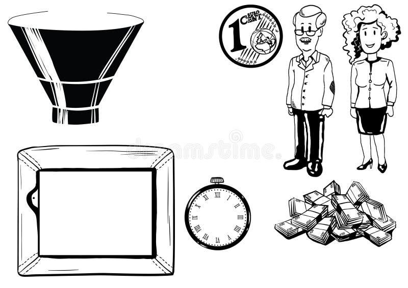 Illustration de l'homme et de femme, argent, TV, horloge photographie stock libre de droits