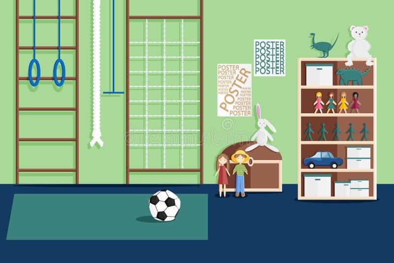 Illustration de l'intérieur de la pièce du jeu des enfants illustration stock