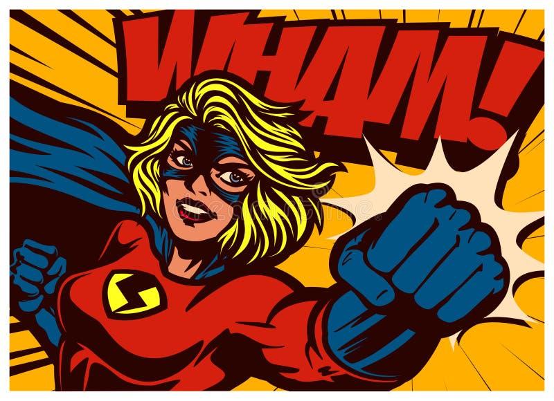 Illustration de la bande dessinée de style superhéroïne punching with women superhero costume vintage vintage bande dessinée vint illustration de vecteur
