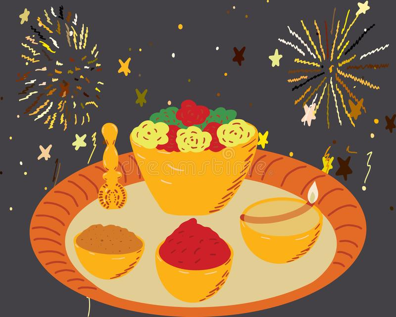 Illustration de la célèbre assiette de diwali pour le festival Indian Sun illustration stock