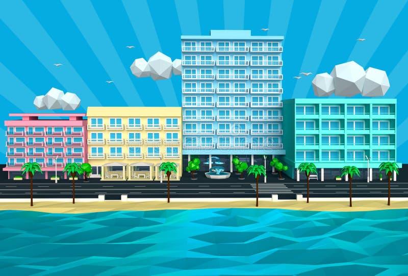 Illustration de la rue et des hôtels tropicaux 3D de plage d'île illustration stock