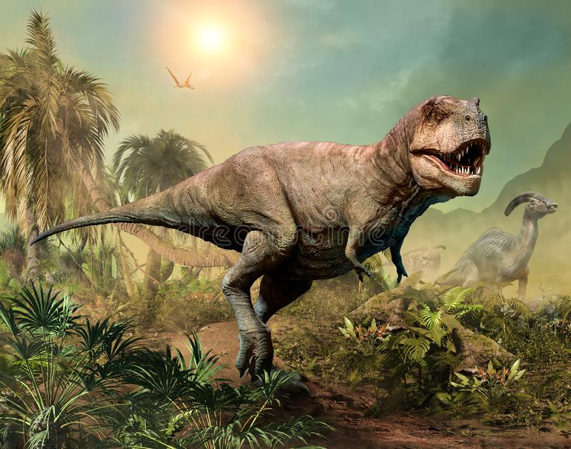 Illustration de la scène 3D de rex de tyrannosaure illustration stock