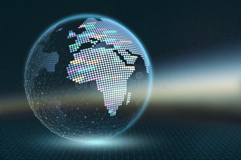 Illustration de la terre 3D de planète Carte de pixel transparente avec les éléments lumineux sur un fond abstrait foncé illustration libre de droits