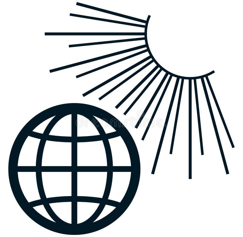 Illustration de la terre de vecteur au soleil d'isolement sur le blanc illustration stock