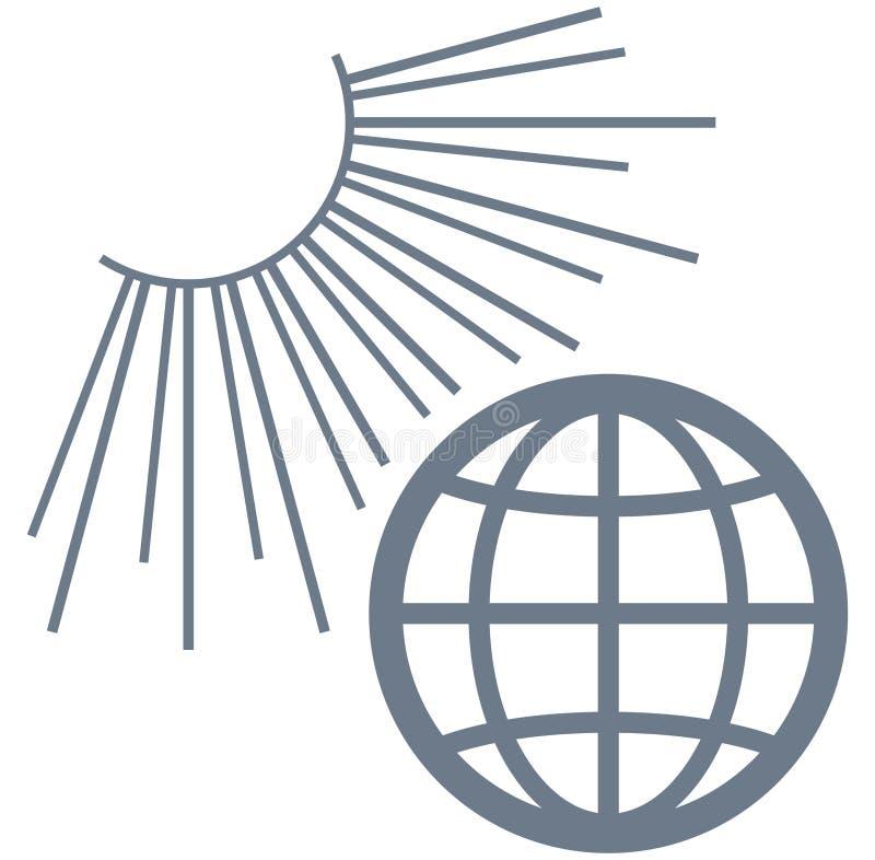 Illustration de la terre de vecteur au soleil d'isolement sur le blanc illustration libre de droits