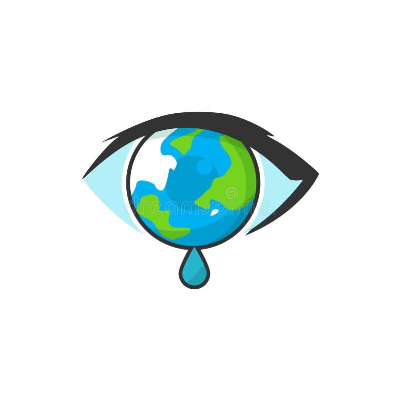 Illustration de la terre qui forme des yeux et pleure illustration stock