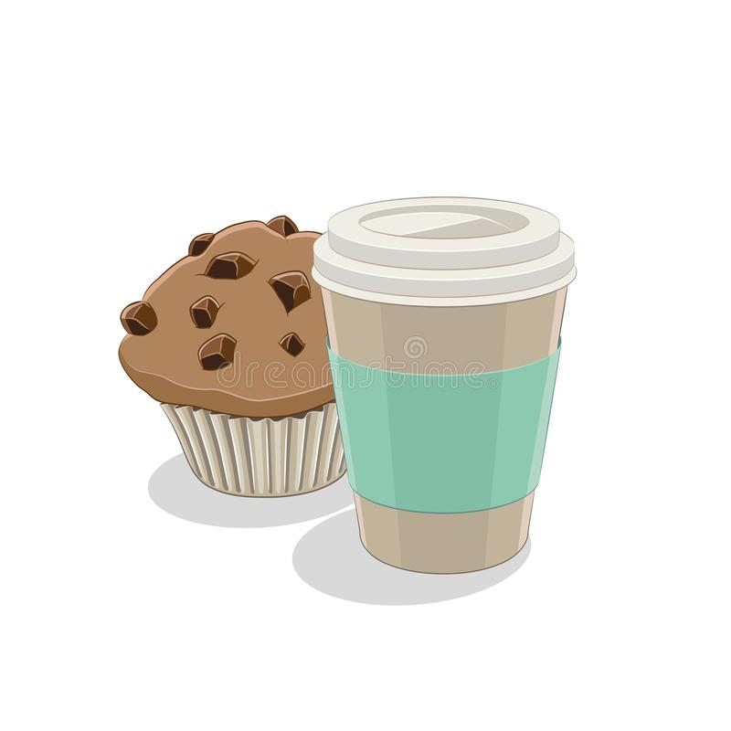 Illustration de la vectorielle Paper Coffee Cup and Muffin Breakfast illustration de vecteur